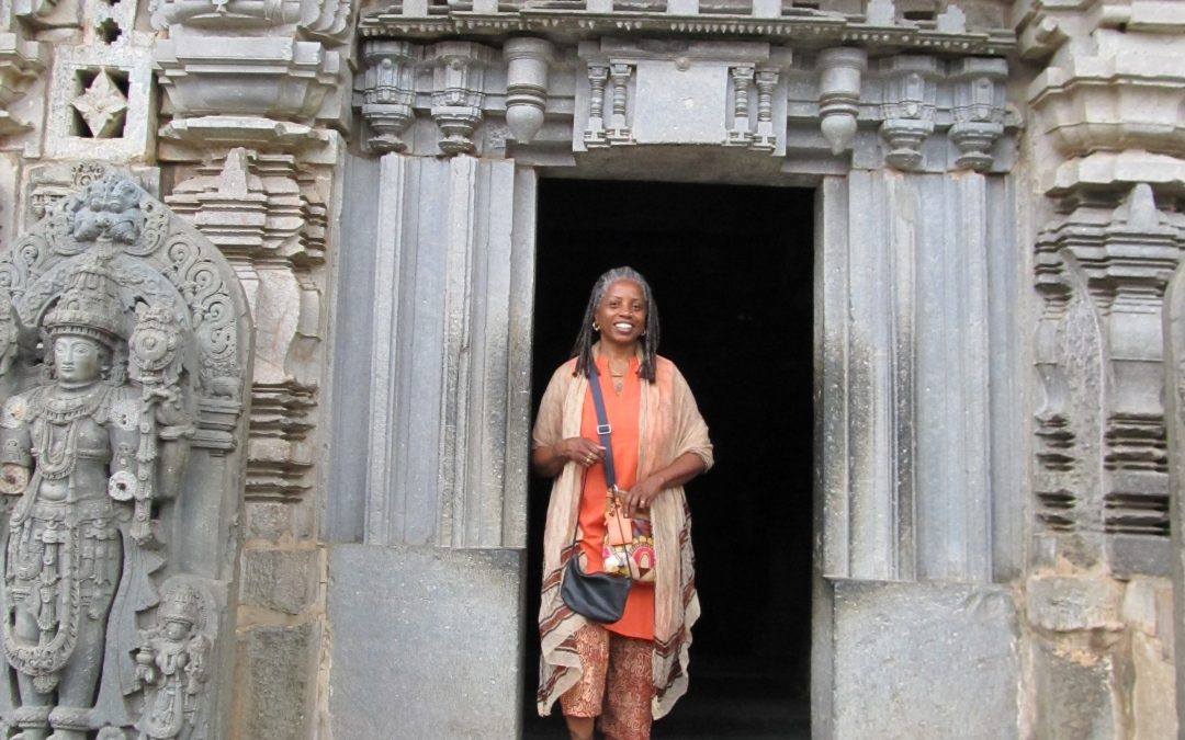 Sistashree standing outside a tempalte in India